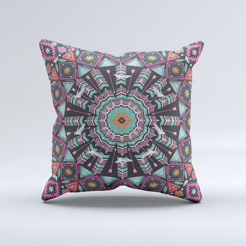 Mirrored Coral and Colored Vector Aztec Pattern Ink-Fuzed Decorative Throw Pillow