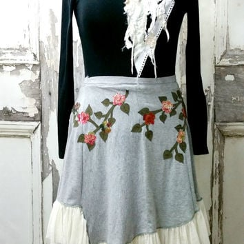 Upcycled Clothing Grey T-Shirt Wrap Skirt, Appliqued Knit Wrap Skirt, Wearable Art, Boho Chic, Plus Size