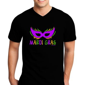 Mardi Gras - Purple Gold Green Mask Adult Dark V-Neck T-Shirt by TooLoud