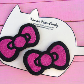 Kids Hair Clips- Hello Kitty Hair Bows- Stocking Stuffers For Kids- Christmas Gifts- Anime Hair Bows- Anime Hair Clip- Hello Kitty Costume