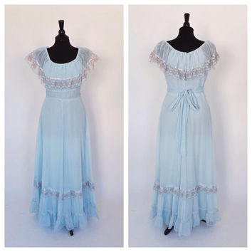 Vintage 1970s Gauzy Cotton Gown Blue Lace Maxi Dress Boho Summer Sundress Romantic Indie Edwardian Folk Hippie Bridesmaid Prom Gown