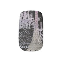 modern girly vintage chandelier paris eiffel tower Minx Nails nail art