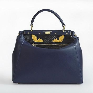 fendi women s fashion blue classic leather shoulder tote handbag bag