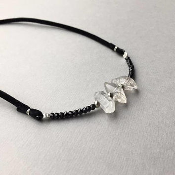 Raw Herkimer Choker Necklace, Festival Jewelry, April Birthstone, Herkimer Diamond Jewelry, Black Leather Choker, Boho Gypsy Jewelry