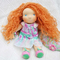 Waldorf doll Muza 16 in 41 cm felted dress painted by LaFiabaRussa
