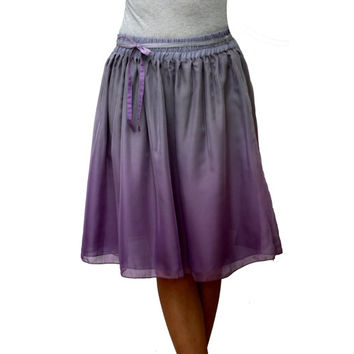 Spring Ombre Purple and Grey Chiffon Midi Skirt - Ready to Ship