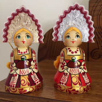 Russian Christmas ornament set of 2 pcs doll Russian traditional costume doll hand made Chrismas  tree doll Russian souvenir doll