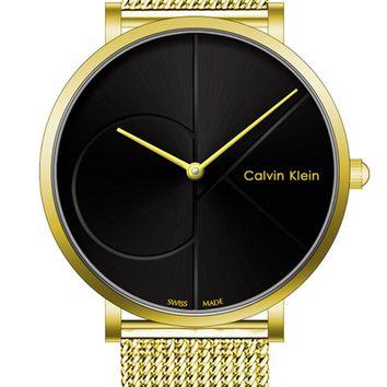 CK Calvin Klein men and women tide fashion models F-SBHY-WSL Gold + Black Dial