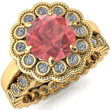 Zinnia Round Padparadscha Sapphire 8 Prongs Milgrain Halo Accent Diamonds Ring