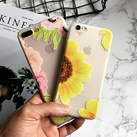 Pink Girl Flower Silicone Matte Case for iPhone 7 6s Case Soft Rose Flower Floral Phone Cases Back Cover for 7 6 Plus Coque Leaf