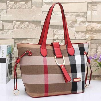 Burberry Women Print Leather Satchel Tote Shoulder Bag Crossbody