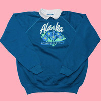 Vintage 80s Alaska Collared Crewneck Sweatshirt Made in USA Womens Size XL