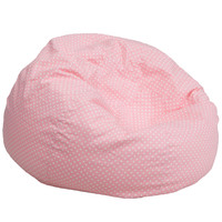 Oversized Light Pink Dot Bean Bag Chair DG-BEAN-LARGE-DOT-PK-GG