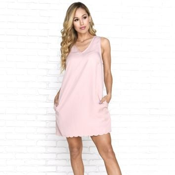 Ocean Wave Scallop Dress in Blush