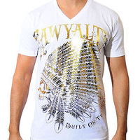 Rawyalty Couture Mens Vintage Gold Indian Stones V-Neck T-Shirt White