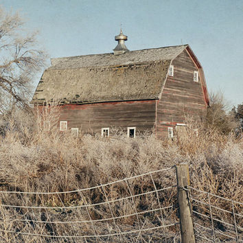 Red Barn Photograph, Rustic Landscape Photography, Farmhouse Decor, Vintage Style, Farm Art Print |'Autumn Light'