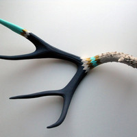 Gold, Aqua and Navy Double Chevron Mule Deer Antler - Large