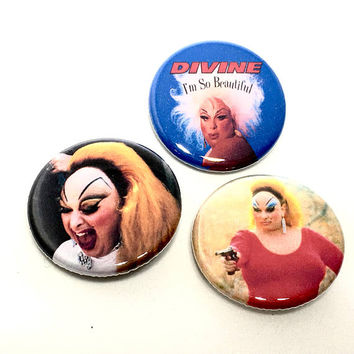 Divine Pin Set Pinback Button Pin Badge Brooch x3 Drag Queen John Waters Pink Flamingos Hairspray