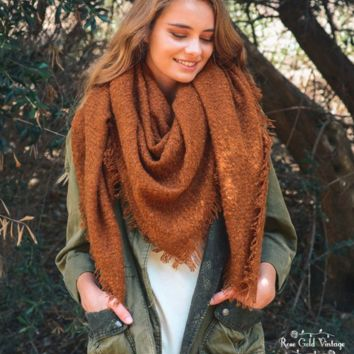 Oversized Open Knit Blanket Scarf - Camel