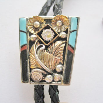Vintage Turquoise Onyx Bolo Tie Sterling GF Navajo