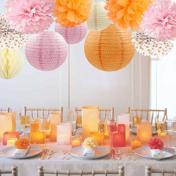 PINK ORANGE Party Decoration- Pink Orange Party Decoration-Girls Birthday Party| Girl Baby Shower |Pink Bridal Shower | Orange Cake Smash