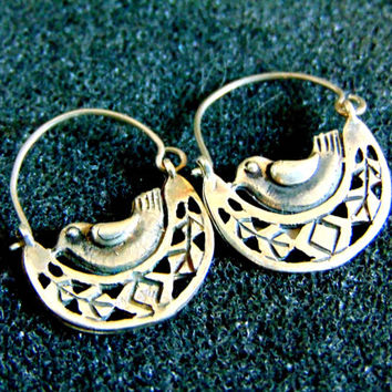 Stunning silver bird earrings-Sterling silver Byzantine earrings-Antique silver earrings-Ancient Greek bird earrings-Artisan jewelry
