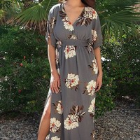 Light Up The Room Faye Grey Floral Print Maxi Dress