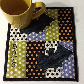 Quilted Bats Halloween Mug Rug, Orange and Black Candle Mat, Quiltsy Handmade