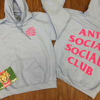 AntiSocial Social Club Hoodie in Baby Blue  2AM Hoodie / ASSC / Kanye West Anti Social  Cash Me Outside anti social club concert