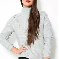 Gray Cutout Turtle-Neck Knitted Sweater