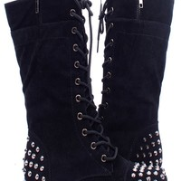BLACK FAUX SUEDE LACE UP STUDDED COMBAT BOOTS