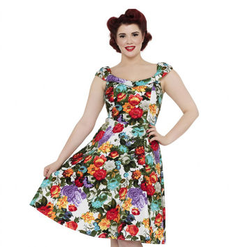 Voodoo Vixen Beryl Floral Blooms Swing Dress