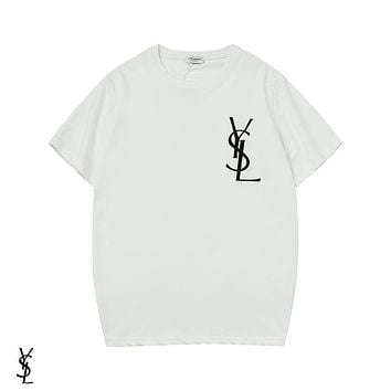 YSL Yves Saint Laurent Summer Popular Women Men Embroidery Tunic Top Tee Shirt White