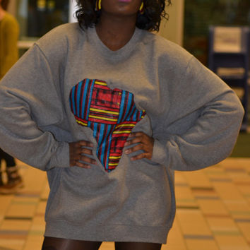 Grey and Red/Yellow Ankara   Crew Sweatshirt