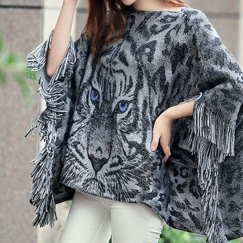 Pullover Knit Tops Plus Size Bat Tassels Scarf Sweater Jacket [9108918023]