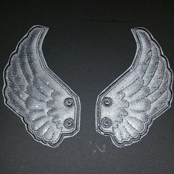 Weeping angel inspired hand painted shoe wings,  cosplay doctor who