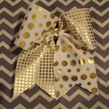 Gold Dotted Criss Cross Cheer Bow