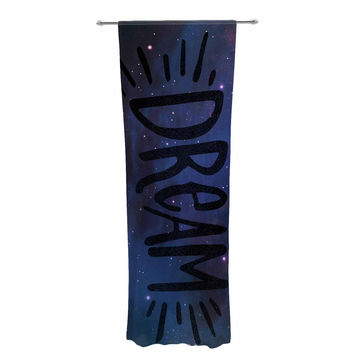 "Robin Dickinson ""Sweet Dream"" Black Purple Galaxy Decorative Sheer Curtain"