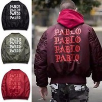 Men's I FEEL LIKE PABLO Jacket Kanye West MA1 Flight bomber Coats Thick