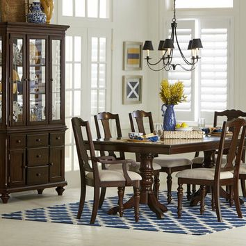 7 pc Glendive collection brown cherry finish wood double pedestal dining table set