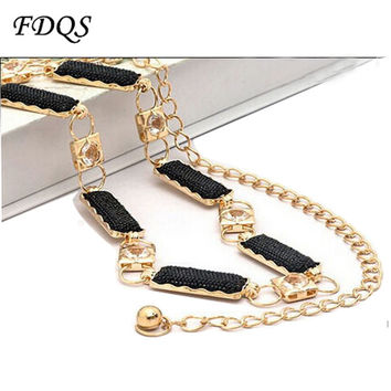 Fashion Luxury Golden Silver Metal Rhinestone Designer Female Chain Belt Ladies Strap Cummerbund for Women