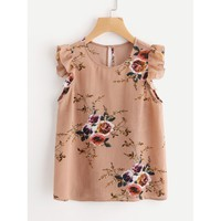 Frilled Armhole Button Closure Back Shell Top Multicolor