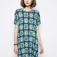 House of Holland Tee Dress in Cauliflower Print