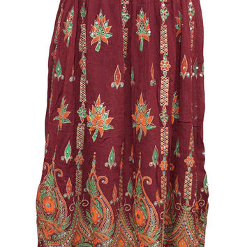 Women's Skirt Bohemian Festive Long Maroon Skirts Sequins Ankle Length