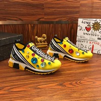 Dolce & Gabbana D&G Sorrento Sneakers With Embroidery Yellow - Best Online Sale