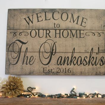 Welcome To Our Home Wood Pallet Sign Living Area Decor