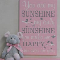 Light Pink Sunshine Wall Quote Nursery Song, Kids Decor Sign - You Are My Sunshine My Only Sunshine - Pink Baby Girl Room Decor Sign