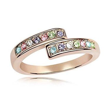 GEJEW Womens Rose Gold Wedding Plain Stackable Engagement Cubic Zirconia Ring