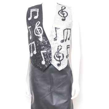 Vintage Silver and Black Sequin Vest with Music Notes, Sparkly and Fun