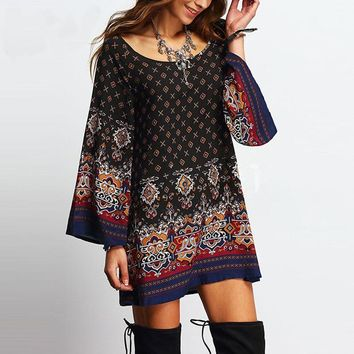 Women's Vintage Ethnic Baroque Print Casual Loose Dress Long Flare Sleeve Vintage Retro Dress Vestidos
